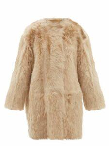 No. 21 - Oversized Shearling Coat - Womens - Beige