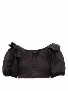 Ellery - Hilaria Puff-sleeve Cropped Cotton Top - Womens - Black