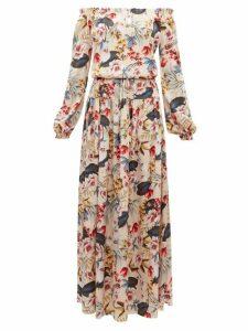Adriana Iglesias - Creek Floral-print Silk-satin Dress - Womens - Nude Multi