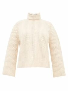 Loewe - Open Back Faux Pearl Neck Ribbed Cashmere Sweater - Womens - Cream