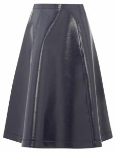 Sara Lanzi - Coated Wool-blend A-line Skirt - Womens - Navy