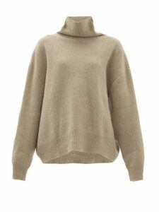 Raey - Cropped Displaced Sleeve Roll Neck Wool Sweater - Womens - Grey