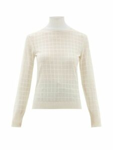 Chloé - Roll Neck Windowpane Check Jacquard Sweater - Womens - White