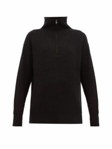 Nili Lotan - Benni Half Zip Ribbed Cashmere Sweater - Womens - Black