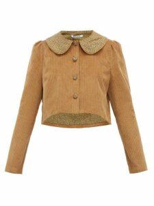 Batsheva - Peter Pan-collar Cotton-corduroy Jacket - Womens - Brown
