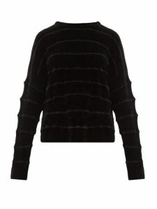 Sara Lanzi - Jacquard Striped Ribbed Chenille Sweater - Womens - Black