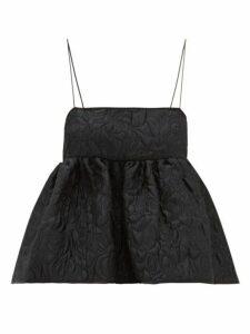 Cecilie Bahnsen - Selena Tie Back Floral Matelassé Top - Womens - Black