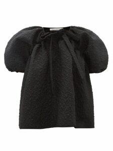 Cecilie Bahnsen - Trille Puff Sleeve Floral Matelassé Blouse - Womens - Black