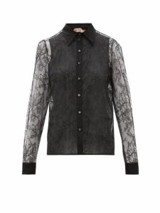 No. 21 - Lace And Silk Organza Blouse - Womens - Black