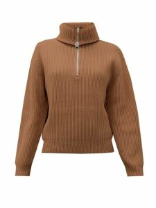 Acne Studios - Kelanie Zipped Roll Neck Wool Blend Sweater - Womens - Light Brown