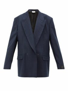 Vetements - Slit-sleeve Double-breasted Check Wool Blazer - Womens - Navy