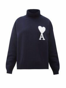Ami - Logo Intarsia Merino Wool Sweater - Womens - Navy