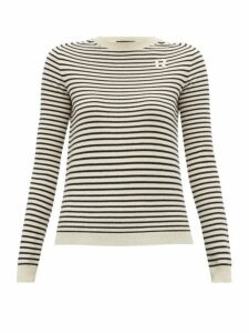 Rochas - R Appliqué Striped Cashmere Sweater - Womens - White Multi
