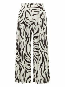 Pleats Please Issey Miyake - Aroma Zebra-print Pleated Trousers - Womens - White Black