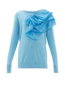 Sies Marjan - Awa Silk Organza-rosette Wool-blend Sweater - Womens - Blue