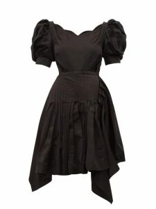 Preen By Thornton Bregazzi - Felixa Scalloped Silk-charmeuse Dress - Womens - Black
