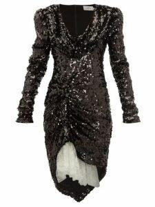 Preen By Thornton Bregazzi - Karin Cowl Neck Sequinned Dress - Womens - Black