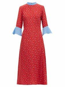 HVN - Ashley Heel-print Silk Midi Dress - Womens - Red Multi