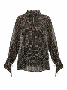 Nili Lotan - Ruffled Polka Dot-print Silk-chiffon Blouse - Womens - Black White