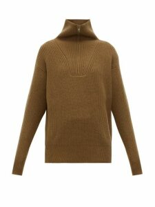 Nili Lotan - Beni Half Zip Cashmere Sweater - Womens - Brown