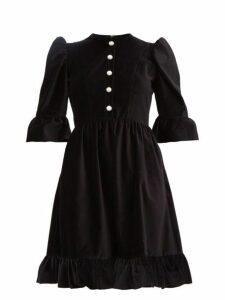 Batsheva - Faux-pearl Buttoned Cotton-velvet Dress - Womens - Black