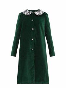 Batsheva - Leopard Print Collar Cotton Velvet Swing Coat - Womens - Green