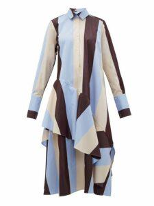 Palmer//harding - Spicy Striped Cotton Shirtdress - Womens - Burgundy Multi