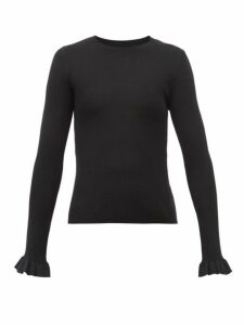 Redvalentino - Ruffled Cuff Ribbed Wool Blend Sweater - Womens - Black