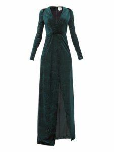 Galvan - Winter Palm Plunge-neck Velvet Dress - Womens - Dark Green