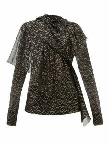 Petar Petrov - Bobby Metallic Fil Coupé Silk Blend Blouse - Womens - Black Print