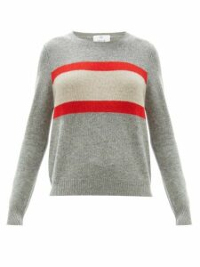 Allude - Stripe-intarsia Wool-blend Sweater - Womens - Grey Multi