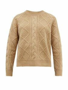 Allude - Cable Knit Wool Sweater - Womens - Beige