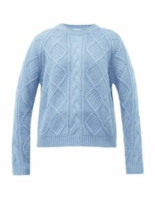 Allude - Cable Knit Wool Sweater - Womens - Light Blue