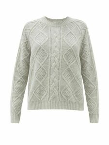 Allude - Cable Knit Wool Sweater - Womens - Grey