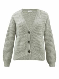 Allude - V-neck Ribbed-knit Cardigan - Womens - Grey