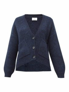Allude - Balloon-sleeve Ribbed Cardigan - Womens - Dark Navy