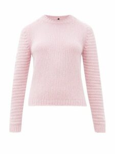 Sara Lanzi - Ribbed-sleeve Crew-neck Wool-blend Sweater - Womens - Pink