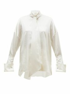 Alexandre Vauthier - Musketeer Cuff Satin Blouse - Womens - Ivory