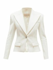 Alexandre Vauthier - Crystal-button Single-breasted Crepe Blazer - Womens - Ivory