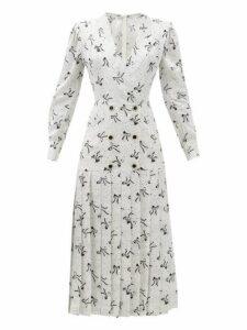 Alessandra Rich - Bow And Dot-print Pleated-skirt Silk Dress - Womens - White Black