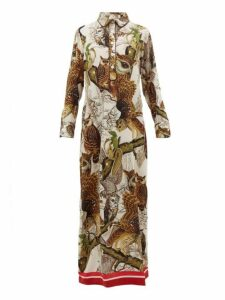 F.r.s - For Restless Sleepers - Aura Owl-print Silk-crepe Dress - Womens - Ivory Multi