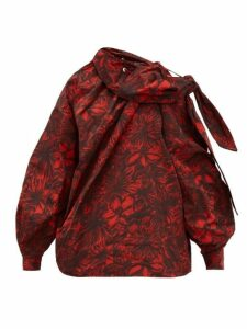 Toga - Floral-print Drawcord-neck Taffeta Top - Womens - Red