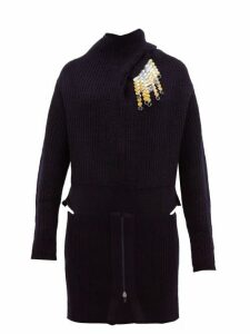 Toga - Detachable-brooch Ribbed Wool-blend Sweater - Womens - Navy