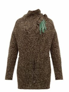Toga - Detachable Brooch Ribbed Wool Blend Sweater - Womens - Brown