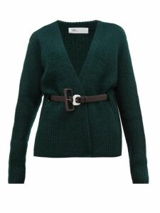 Toga - Belted Ribbed-knit Wool Cardigan - Womens - Green