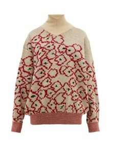 Toga - Floral-jacquard Mohair-blend Sweater - Womens - Red Multi