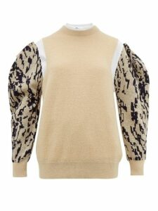Toga - Puff Sleeve Jacquard Mohair Blend Sweater - Womens - Cream Multi