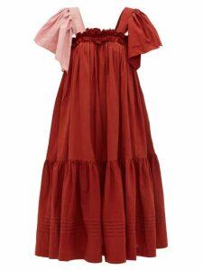 Story Mfg - Aida Ruffled Organic Cotton Voile Dress - Womens - Red