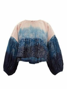Story Mfg. - Mon Ombré-dye Tie-back Cotton Top - Womens - Pink Multi