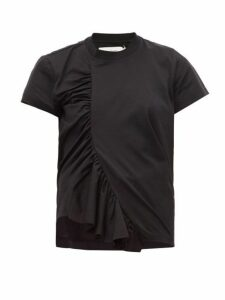 Marques'almeida - Asymmetric Ruched Cotton T-shirt - Womens - Black